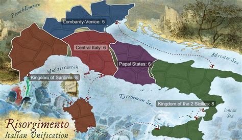 italian unification map