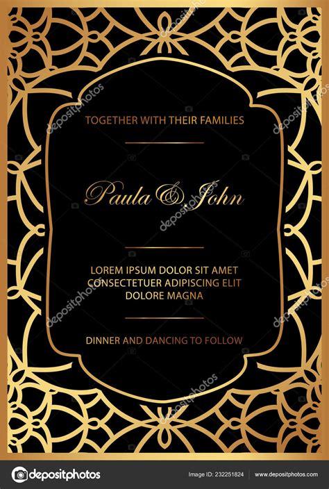 Black wedding invitation templates Stylish Gold Black