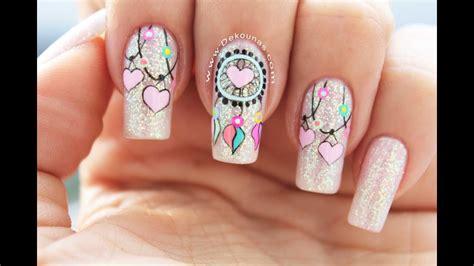 Los diseños nail art vienen en un montón de variaciones y estilos para todo el mundo. Diseño de uñas Atrapasueños - Dreamcatcher nail art - YouTube