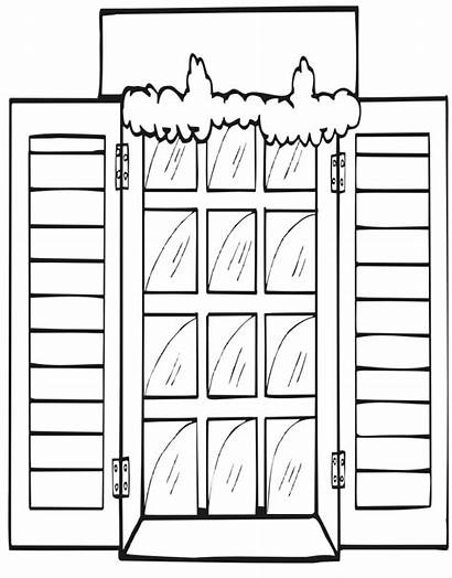 Window Christmas Coloring Pages Snowy Printable Template