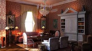 Classic, Interior, Design, Red, Jacquard, Color, Scheme
