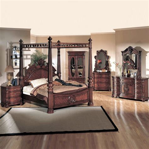 yuan furniture corina poster bedroom set cherry