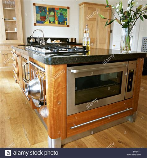 modern kitchen island with hob stainless steel oven and integral hob in central island