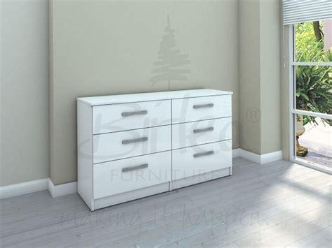 birlea lynx white  white gloss  drawer wide chest