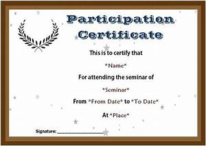 Sample Of Certificate Of Achievement Certificate Of Participation Seminar Templates Seminar