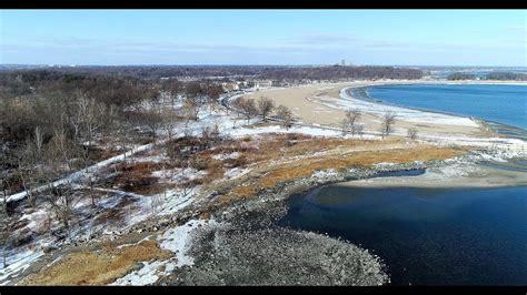 aerial view  orchard beach bronx ny  january