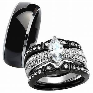 4 Pc His Titanium Her Black Stainless Steel Wedding