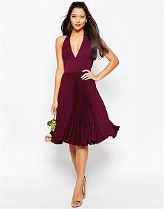 asos wedding drape back pleated midi dress in red lyst With asos robe cocktail