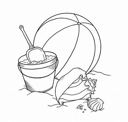 Beach Toys Coloring Drawing Sand Clipart Outline