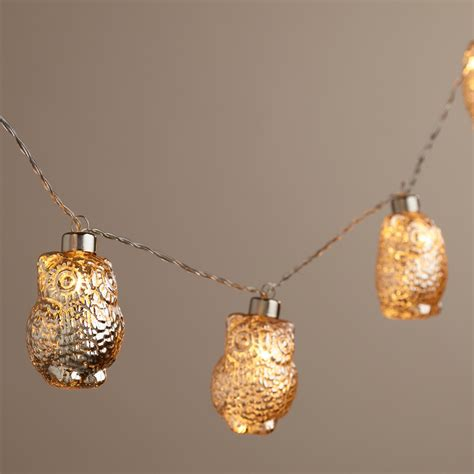 owl string lights mercury glass owl led 10 bulb battery operated string