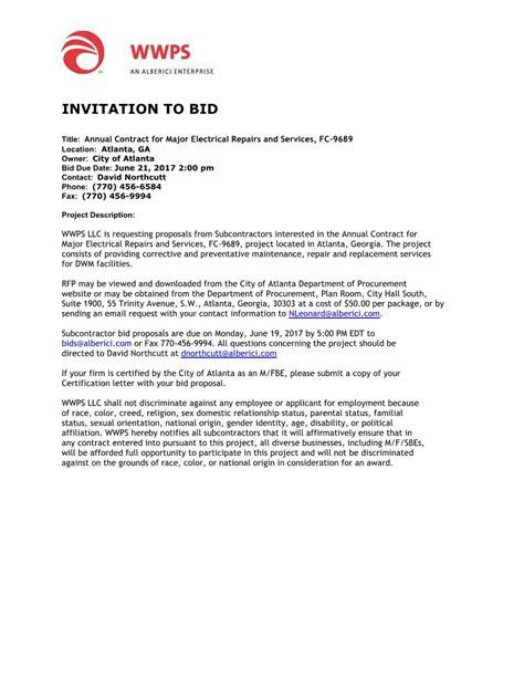 to bid wwps invitation to bid