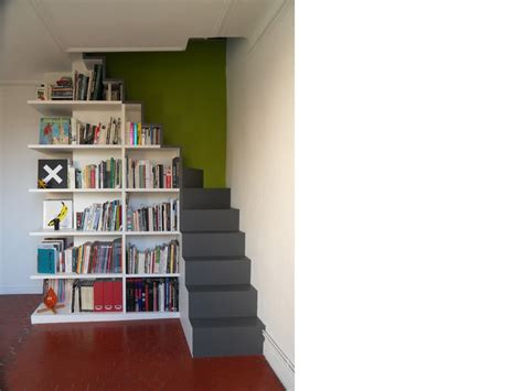 great u escalier bibliothque opc with rangement sous escalier tournant