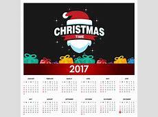 Nice christmas calendar 2017 Vector Free Download