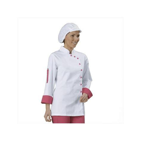 cuisine femme veste cuisine femme blanc et fuchsia manches longues