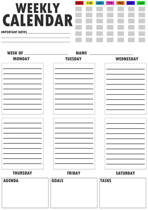 printable weekly planner weekly schedule