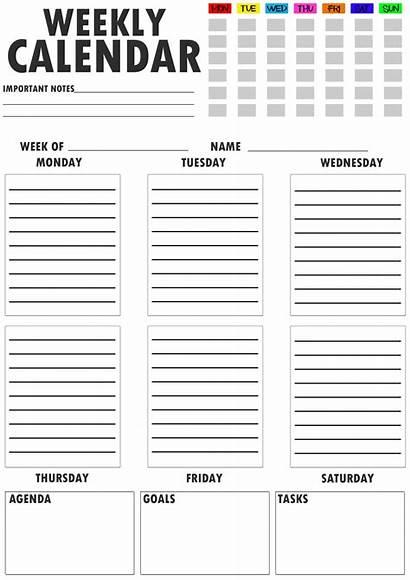 Weekly Template Calendar Printable Schedule Pdf Planner