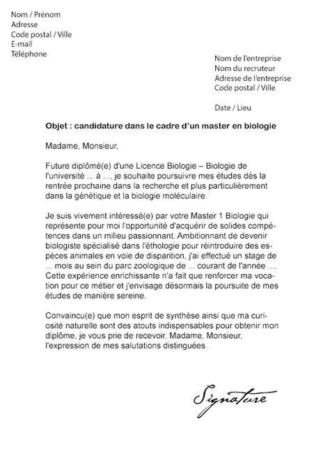 lettre de motivation master biologie modele de lettre