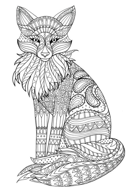 Fox Zentangle | Animal Coloring Pages for Adults | Fox
