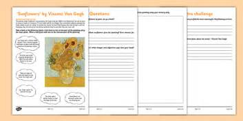 sunflowers  van gogh art appreciation worksheet