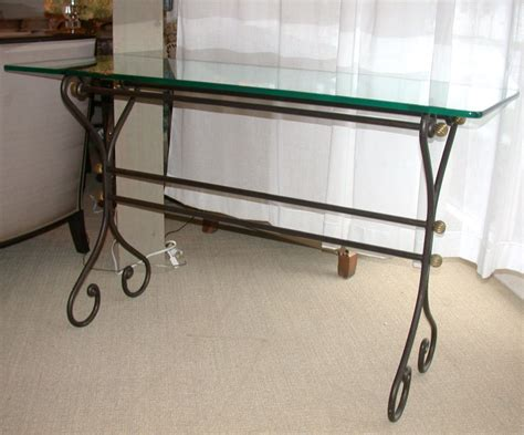 wrought iron console table with glass top at 1stdibs