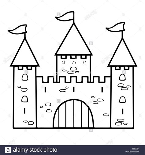castle cartoon linear drawing coloring outline contour