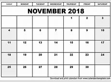 November 2018 Calendar Template monthly calendar 2017