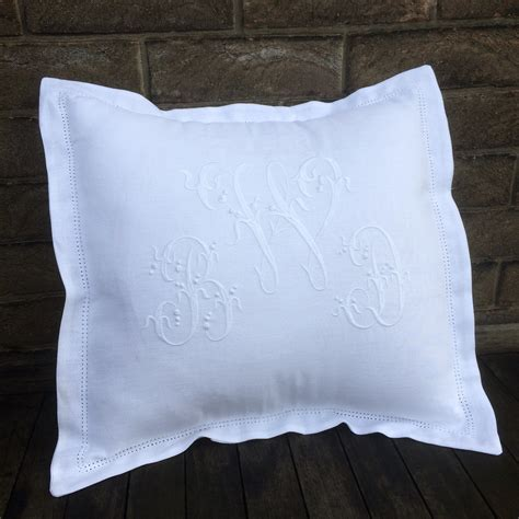personalised white linen cushion  embroidered monogram linen  letters