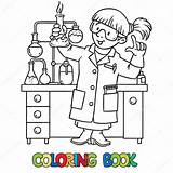 Coloring Scientist Illustration Chemist Funny Script Template sketch template