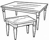 Table Coloring Pages Wooden Simple sketch template