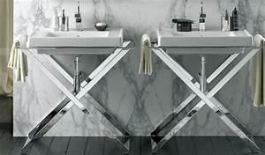 Console Salle De Bain : un lavabo sur pi tement ou console m tal ou bois ~ Teatrodelosmanantiales.com Idées de Décoration
