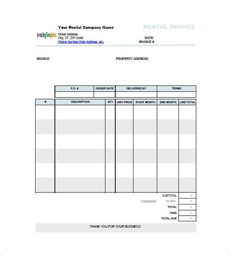 lease invoice template   word excel  format