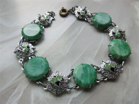deco peking glass enameled bracelet 1930s estate jewelry