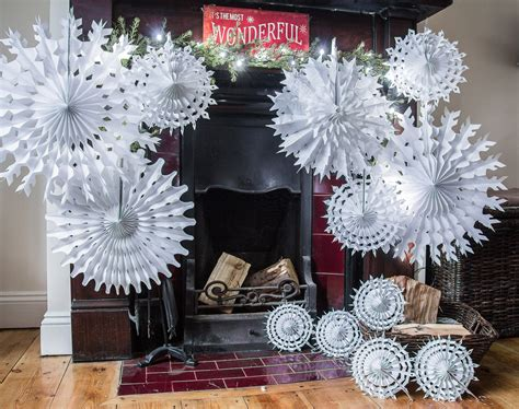 pack of 12 paper snowflake christmas hanging decorations paper snowflake company