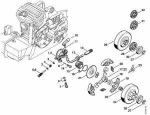 china stihl chain saw oil pump and clutch system ms380 With stihl fuel pump