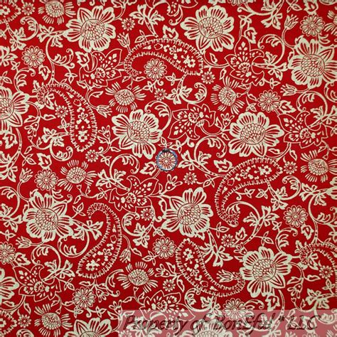 Boneful Fabric Fq Cotton Quilt Red Gold Vtg Paisley Flower