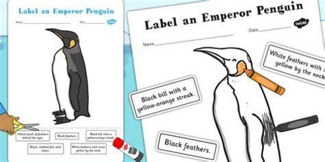 label  emperor penguin worksheet activity winter