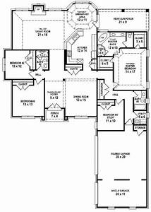 4 Bedroom 3 Bath House Plans 1 Story Bed Ranch 102 ...