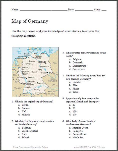 german map worksheet for student handouts social