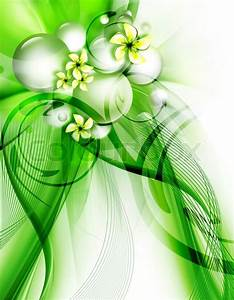 Beautiful green background with flowers for your design