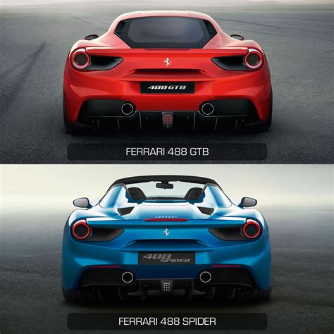 ferrari back view ferrari 488 gtb vs ferrari 488 spider rear view design
