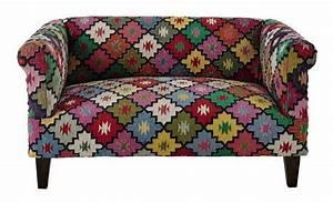 Maison Du Kilim : canap 2 3 places arlequin en tressage kilim multicolore ~ Zukunftsfamilie.com Idées de Décoration