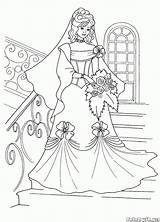 Coloring Bride Stairs Pages Colorkid Brides sketch template