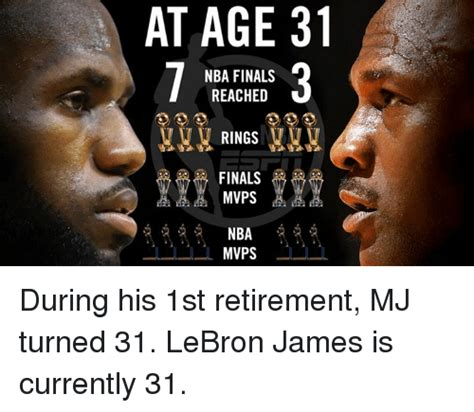 Lebron Finals Meme - at age 31 nba finals reached rings finals mvps nba mvps during his 1st retirement mj turned 31