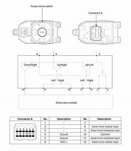 Hyundai Santa Fe  Power Door Mirror Switch  Schematic
