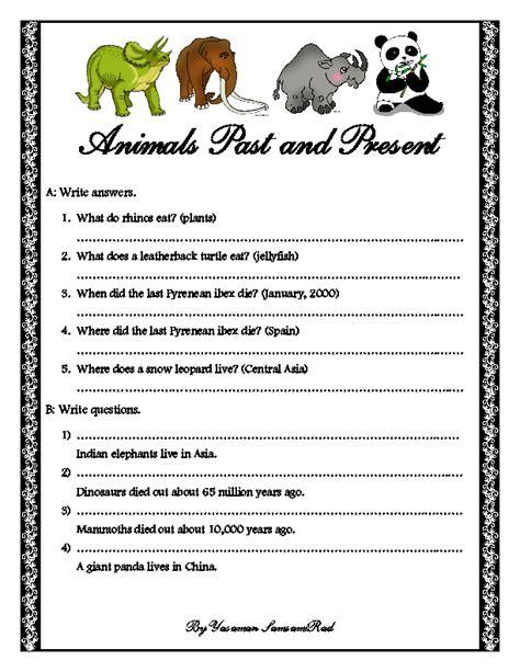 animals   present grammar worksheet