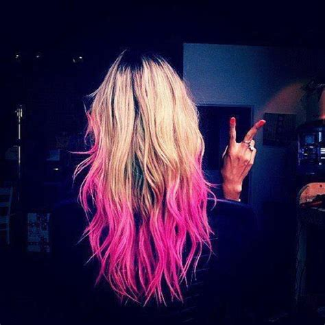 Long Blonde Hair Hot Pink Ombre Tips Rainbow Hair