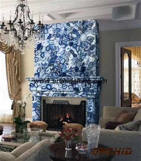 blue agate semi precious fireplace mantelhearthsurround