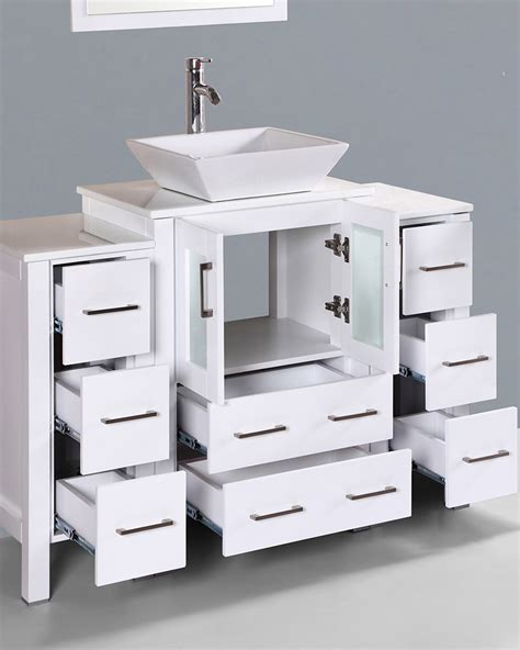square vessel sink vanity white 48in square vessel sink single vanity by bosconi