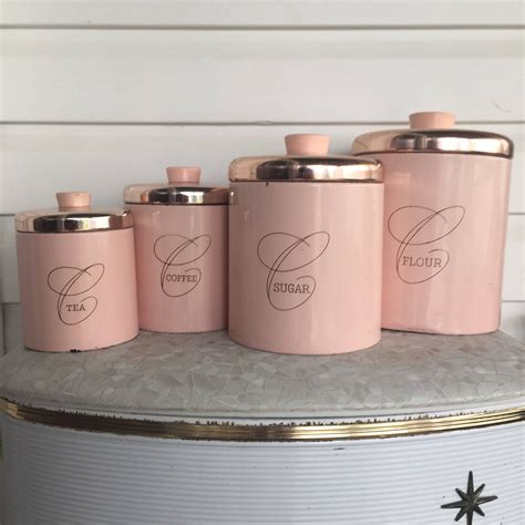 Vintage Metal Kitchen Canisters by Reserved For Dain Vintage Pink Canisters Pink Metal