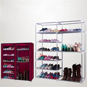 Zimtown, Double, Row, Shoe, Boot, Closet, Rack, Shelf, Storage, Organizer, Cabinet, 9, Lattices, Wine, Red